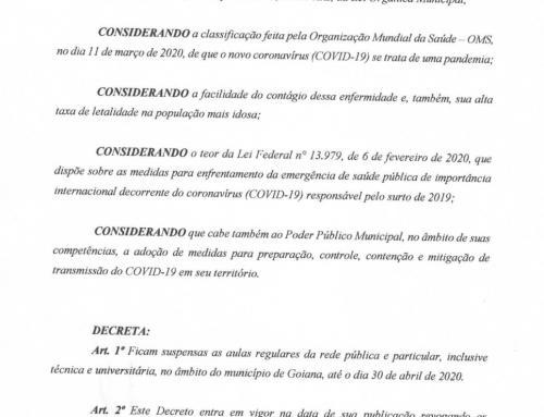 Decreto determina que aulas seguem suspensas até dia 30 de abril